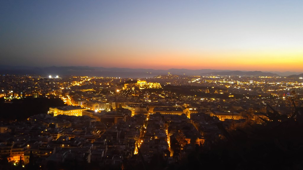 View of Athens and the Acropolis at dusk